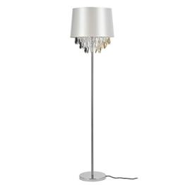 [lux.pro] Stehleuchte Stehlampe (1 x E27 Sockel)(165 cm x Ø 40 cm) Chromfuß + Stoffschirm silber + Kristallbehang Lampe Wohnzimmerlampe Leuchte Standleuchte - 1