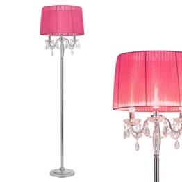 [lux.pro] Stehleuchte Stehlampe (3 x E14 Sockel)(165 cm x 45 cm) Chromfuss + Stoffschirm pink + Kristallbehang Lampe Wohnzimmerlampe Leuchte Standleuchte - 1