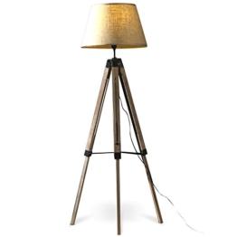 MOJO® Stehlampe Höhenverstellbar Stehleuchte Tripod Lampe Dreifuss (Schirm Beige, Beschläge Schwarz) mq-l63 - 1