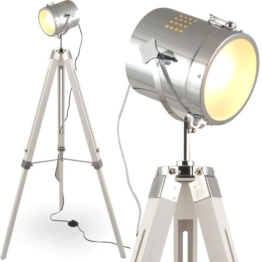 MOJO® Stehleuchte Tischleuchte Tripod Stehlampe Tischlampe Dreifuss Urban Industrial Design Lampe Sel-l31 (Weiss, Stehleuchte) - 1