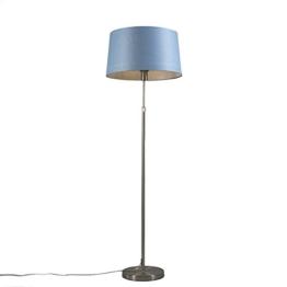 QAZQA Design/Modern/Stehleuchte/Stehlampe/Standleuchte/Lampe/Leuchte Parte Stahl/Silber/nickel matt mit blauem Schirm Höhenverstellbar/Innenbeleuchtung/Wohnzimmer/Schlafzimmer/ - 1