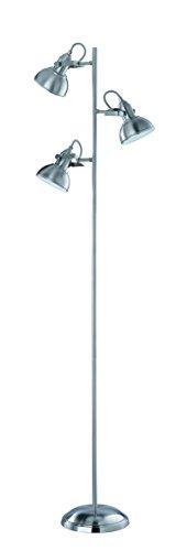 Reality Leuchten Retro Stehleuchte, nickel matt, 3x E14 maximal, 40 W ohne Leuchtmittel, 160 cm R41153007 - 1