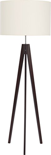 Stehlampe Dreibein Holz Braun Weiß Stoff Schirm Zylinder H 140cm E27 Stehleuchte Couch Wohnzimmer Standleuchte Standlampe - 1