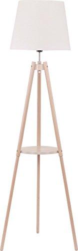 Stehlampe Holz Weiß Stoff Schirm Eckig Dreibein Skandinavisches Design H 148cm E27 Innenlampe Couch Stehleuchte Standleuchte - 1