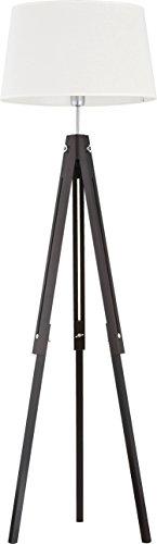 Stehleuchte Dreibein Holz Dunkel Stoff Schirm Weiß Skandinavisches Design H 157cm E27 Stehlampe Standleuchte Wohnzimmer - 1