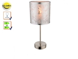 Tisch Leuchte Gästezimmer Lese Lampe silber Stoff Schirm Nacht-Licht schaltbar Globo 15188T - 1