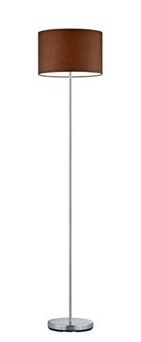 Trio Leuchten Stehleuchte, nickel matt, Stoffschirm braun 401100114 - 1