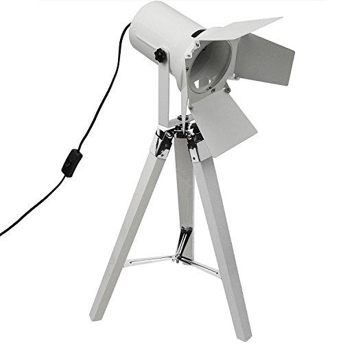 tripod stativleuchte mit scheinwerfer e27 h65cm wei von grundig dreibein stehlampe stehleuchte. Black Bedroom Furniture Sets. Home Design Ideas