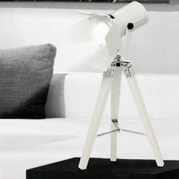 Tripod Stativleuchte mit Scheinwerfer E27 H65cm Weiß von Grundig Dreibein Stehlampe Stehleuchte Studioleuchte Studiolampe Stativlampe - 1