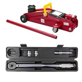 """UNITEC Hydraulicher Rangierwagenheber + Drehmomentschlüssel 1/2"""" 10-210 Nm Set KFZ Auto Wagenheber Fahrzeug Werkzeug Rangier Drehmoment Schlüssel Antrieb Vierkant - 1"""