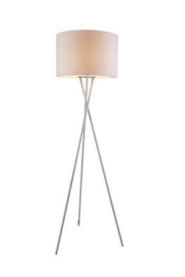 Vintage Stehleuchte mit Weißen Textil Lampen Schirm Stehlampe Standlampe Dreibein (Fassung E27, Stoffschirm, Kabel 1,8 m, Höhe 160 cm, Durchmesser 54 cm) - 1
