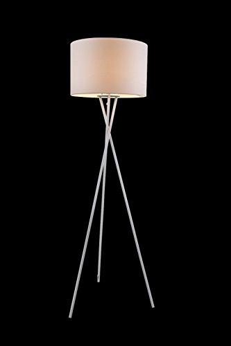 vintage stehleuchte mit wei en textil lampen schirm stehlampe standlampe dreibein fassung e27. Black Bedroom Furniture Sets. Home Design Ideas