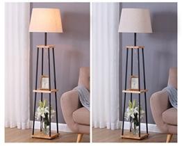 EJYLM Leuchten stehlampe Stehleuchte weiß Schirm E27 aus Eisen und Holz G9 - 1