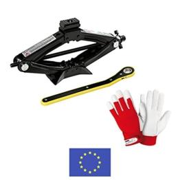 Emergency [Set Notfall] Wagenheber in Fall von Lochung für Auto und Mittel Leichte 1000kg mit Handschuhe aus Leder Robust Stretch Tight. Wagenheber und Handschuhe - 1