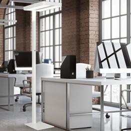 FineBuy LED-Bürostehlampe LIGHT I Metall EEK A++ Deckenfluter Matt weiß 61 x 191 x 34 cm | Design Arbeitsplatz Stehlampe kaltweiß ohne Schirm | Office Standlampe - 1