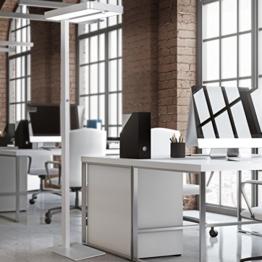 FineBuy LED-Bürostehlampe LIGHT II dimmbar Metall EEK A++ Deckenfluter silber-grau matt | Design Arbeitsplatz Stehlampe 61 x 191 x 34 cm kaltweiß ohne Schirm | Office Standlampe - 1