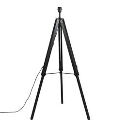 QAZQA Design/Industrie/Industrial/Retro/Stehleuchte/Stehlampe/Standleuchte/Lampe/Leuchte Tripod/Dreifuß Lampe/Dreifuss schwarz ohne Schirm/Innenbeleuchtung/Wohnzimmer/Schlafz - 1