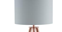 SalesFever Stehlampe, Stehleuchte, Metall- + Holzbeine in kupfer-braun, Lampenschirm in Weiß, Polyester, robuster Stoff, Holz, Metall, Wohnzimmerlampe, Druckschalter, 42 x 29 x 153 cm - 2
