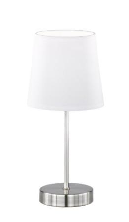 WOFI Tischleuchte, Cesena 1-flammig, weiß, Ø ca. 14 cm, Höhe ca. 31 cm, Stoffschirm, 832401060000 - 1