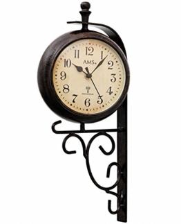 AMS Deko Wanduhr Funk Uhr RETRO Look Vintage Antik zweiseitig Metallgehäuse Anzeige der Temperatur/Uhrzeit - 1