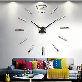 Ceanfly DIY 3D Wanduhr Modern Design Acryl Wanduhren Spiegel Metall Rahmenlose Wandaufkleber groß Uhren Style Raum Home Dekoration Fürs Wohnzimmer Kinderzimmer Durchmesser 90-120cm (Silber_Large) - 1