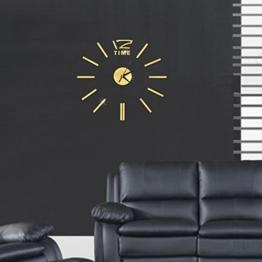 Ceanfly DIY 3D Wanduhr Modern Design Acryl Wanduhren Spiegel Metall Rahmenlose Wandaufkleber groß Uhren Style Raum Home Dekoration Fürs Wohnzimmer Kinderzimmer Durchmesser 60cm - 1
