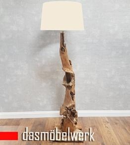 dasmöbelwerk XXL Stehlampe Leuchte massiv Teak Wurzel Holz Lampe mit Schirm Creme 1594 NEW - 1