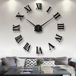 DIY Wanduhr Moderne Clock 3D Acryl Groß Wandtattoo Uhr Wanduhr Home Office Abnehmbarer Dekoration, Schwarz - 1