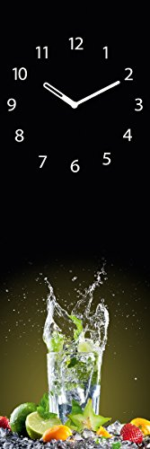 Eurographics Wanduhr aus Glas für die Küche, Ice Mojito, Cocktail Glas, 20x60 cm - 1