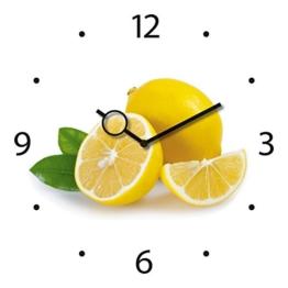 Eurographics Wanduhr aus Glas für die Küche, Lemon Time, Zitronen, gelb, weiß, 30x30 cm - 1