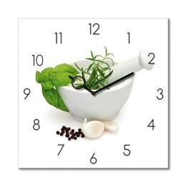Eurographics Wanduhr aus Glas für die Küche, Marinade in Mortar, Prozellanschüssel mit Kräutern, Weiß, 30x30 cm - 1