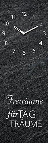 Eurographics Wanduhr aus Glas, Spruch: Freiräume für Tagträume, Schwarz mit Schieferoptik, 20x60 cm - 1