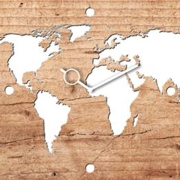 Eurographics Wanduhr aus Glas, World on Wood, hellbraune Holzoptik, Weltkarte, 30x30 cm - 1