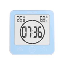Fenteer Saugnapf Funkuhr Wanduhr Badezimmer Badezimmeruhr Uhrzeit Thermometer Hygrometer - Blau - 1