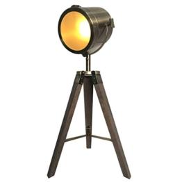 Focolux-Industrial Vintage Boden Tisch Stativ Lampen stehlampe filmscheinwerfer stehlampe holz dreibein wohnzimmer vintage (Bronze) - 1