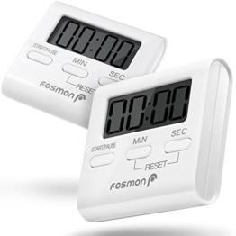 Fosmon Digitale Eieruhr/Elektronische Küchenuhr/Uhr mit Stoppuhr [Magnetisch](2 Stück) mit Großer LCD Digitalanzeige[Lautem Alarm & Einklappbarer Ständer] Kurzzeitmesser Küchen Timer für Kochen, Backen, Braten, Garen - Weiß - 1