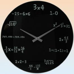 Glas Wanduhr Mathematics schwarz - 1