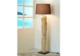 Handarbeit Treibholz-Lampe XL Höhe 175 cm | Stehleuchte Holzstamm Baumstamm Naturholz Lampenschirm Baumwolle braun | Standlampe Schwemmholz Holz Innenbeleuchtung Lampe E27 | Unikat - 1