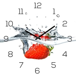 levandeo Wanduhr Glas 30x30cm Uhr Glasbild Erdbeere Rot Wasser Frucht Fruit Küchenuhr Wanddeko - 1