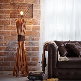 LOFT STYLE BUNCHED XL DESIGN STEHLAMPE STEHLEUCHTE mit SCHIRM aus TREIBHOLZ HANDGEFERTIGT 150 cm HÖHE | HOLZ HOLZLAMPE TREIB-HOLZ UNIKAT | LAMPENSCHIRM: METALL | DIE EXKLUSIVE VINTAGE LAMPE - 1