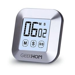 Magnetischer Küchentimer, GEEKHOM Digitaler Touchscreen-Timer mit Alarm, Countdown & Hochzähler, großer LCD Bildschirmtimer für die Küche und zum Kochen - 1