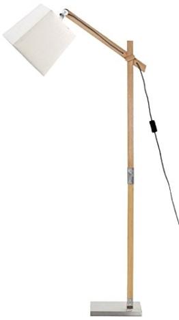 Mathias 3532215 Sandvik Stehlampe, 60 W, E27, 230 V, weiß, Holz, Natur, Durchmesser 22 cm, Höhe 135 cm - 1
