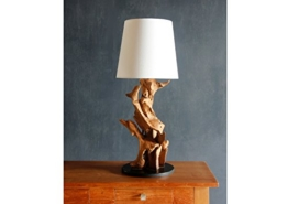 Möbel Bressmer Teakholz TISCHLAMPE Teak massiv Treibholz Driftwood Lampe Leuchte Schirmlampe - 1
