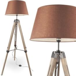 MOJO® Stehlampe Höhenverstellbar Stehleuchte Tripod Lampe Leselampe Dreifuss (Schirm Braun, Beschläge Schwarz) - 1