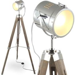 mojoliving MOJO® Stehleuchte Tischleuchte Tripod Stehlampe Tischlampe Dreifuss Lampe Industrial Design Sel-l30 (Braun, Stehleuchte) - 1
