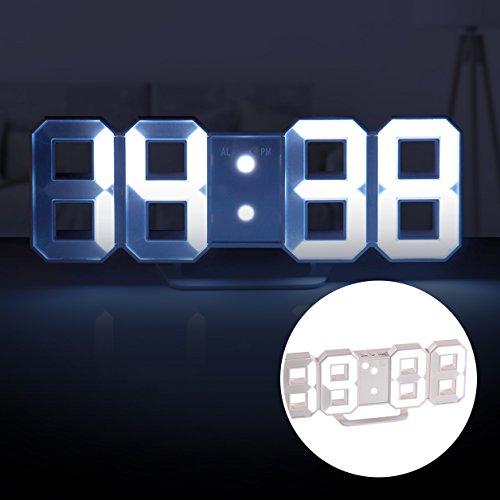 monsterzeug digitaluhr wanduhr 3d tischuhr funk mit wecker dimmbar digitale uhr led anzeige 7. Black Bedroom Furniture Sets. Home Design Ideas