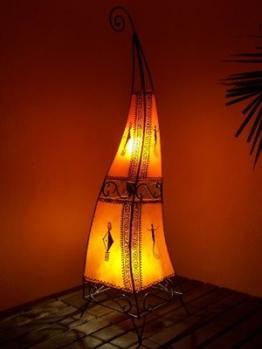 Orientalische Stehlampe Marrakesch orange 100cm Lederlampe Hennalampe Lampe | Marokkanische Große Stehlampen aus Metall, Lampenschirm aus Leder | Orientalische Dekoration aus Marokko, Farbe Orange - 1