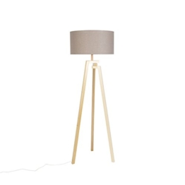 QAZQA Design Designer Stehleuchte/Stehlampe/Standleuchte/Lampe/Leuchte Dreifuß natur Holz mit grauem Schirm - Cortina/Innenbeleuchtung/Wohnzimmer/Schlafzimmer/Küche/Textil/Andere - 1