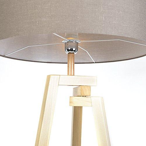 qazqa design designer stehleuchte stehlampe standleuchte lampe leuchte dreifu natur holz mit. Black Bedroom Furniture Sets. Home Design Ideas