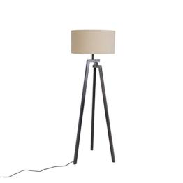 QAZQA Design Designer Stehleuchte/Stehlampe/Standleuchte/Lampe/Leuchte Dreifuß schwarz mit kaffee Schirm - Cortina/Innenbeleuchtung/Wohnzimmer/Schlafzimmer/Küche Holz/Textil/Andere - 1